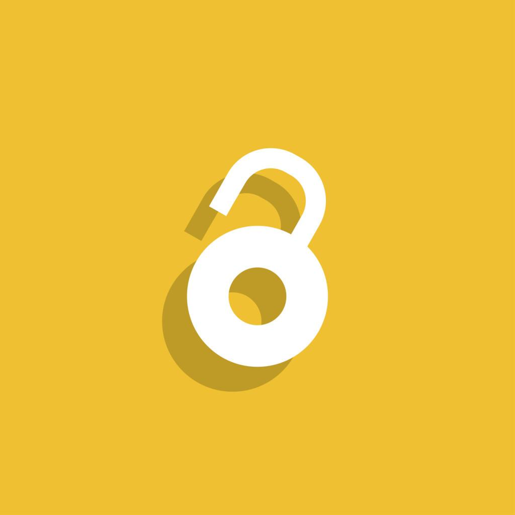 Open lock icon. Flat design style eps 10