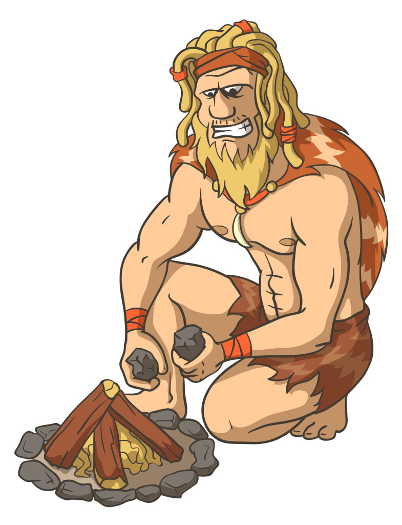 neanderthal smashing rocks
