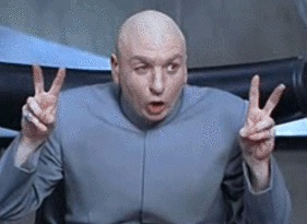Dr. Evil from Austin Powers making air quotes with his fingers.