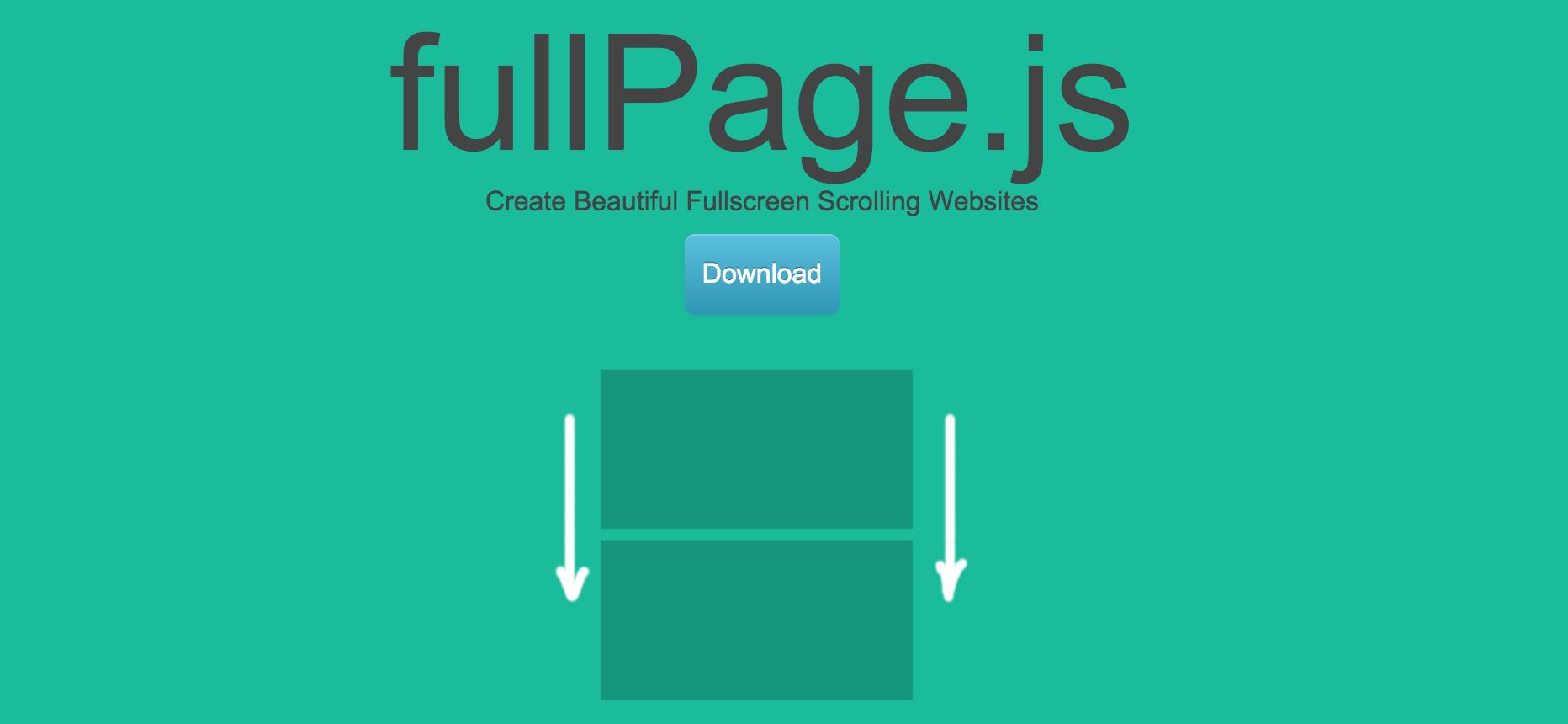 Homepage screenshot for fullPage.js
