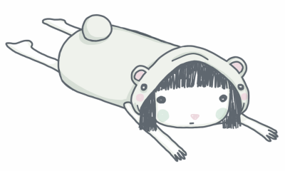 Illustration: Girl in onesie lying on her tummy.