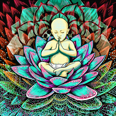 Illustration: Young Buddha sits in a lotus flower