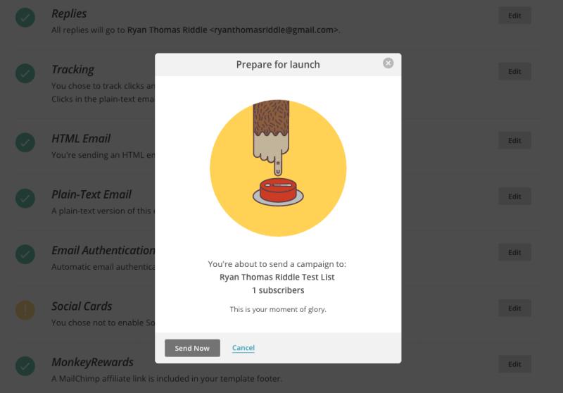 Screenshot: Mailchip UI showing sense of humour
