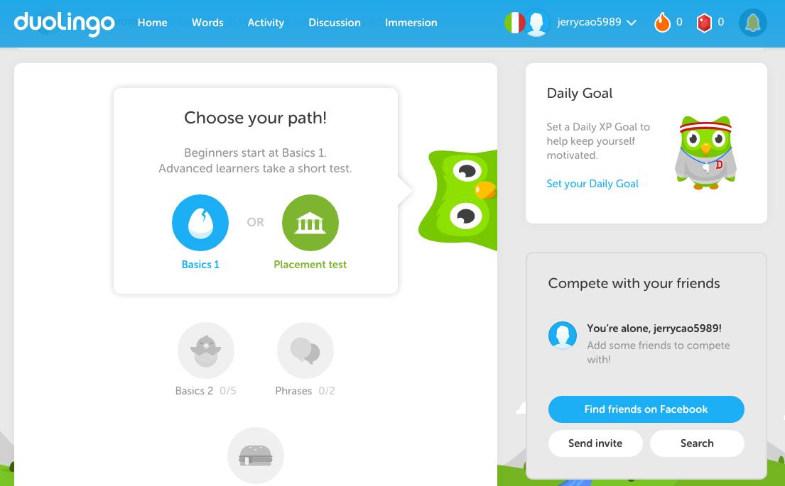 Screenshot: Duolingo