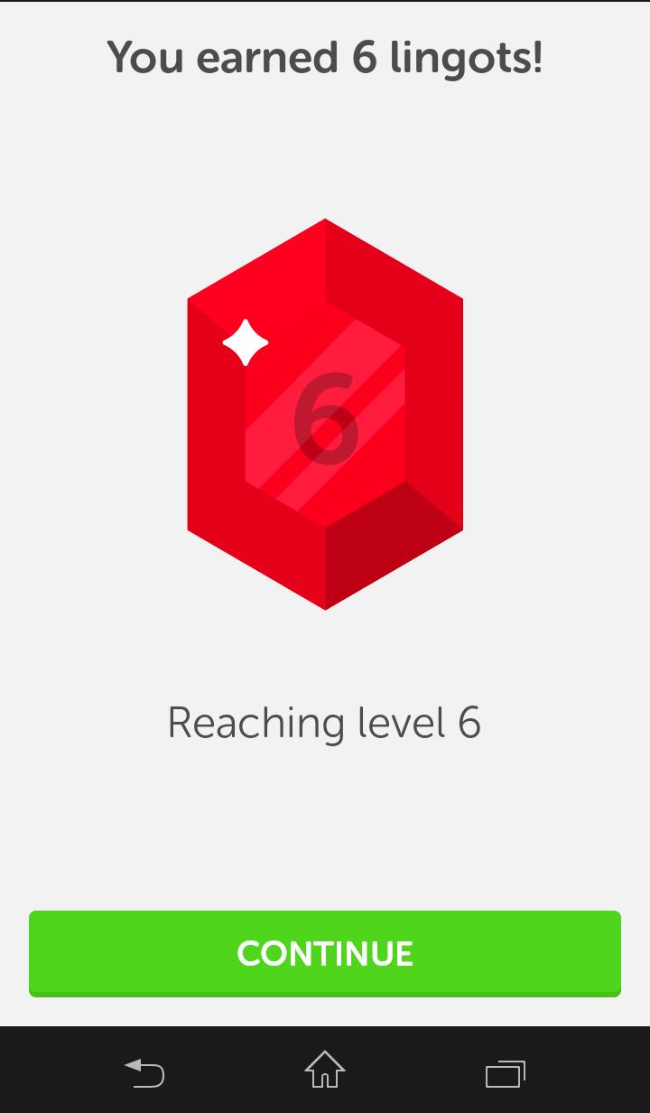 Screenshot: Level up