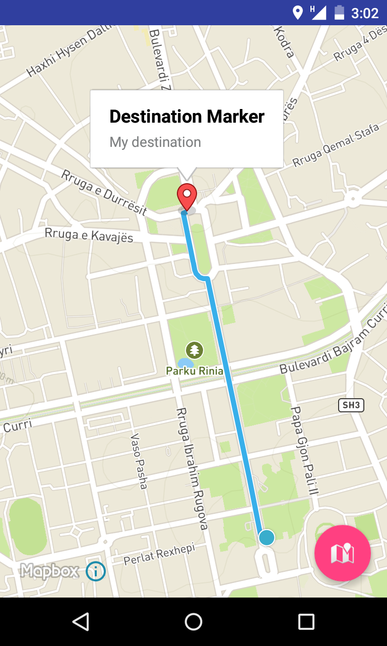 Final App showing route