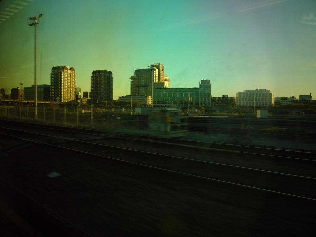 Train station view shot using sunglasses filter.