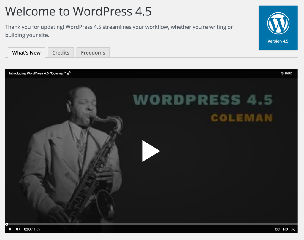 WordPress 4.5 Welcome and What's New