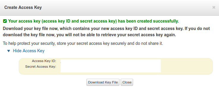 generated access key and secret key