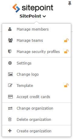 Organization menu