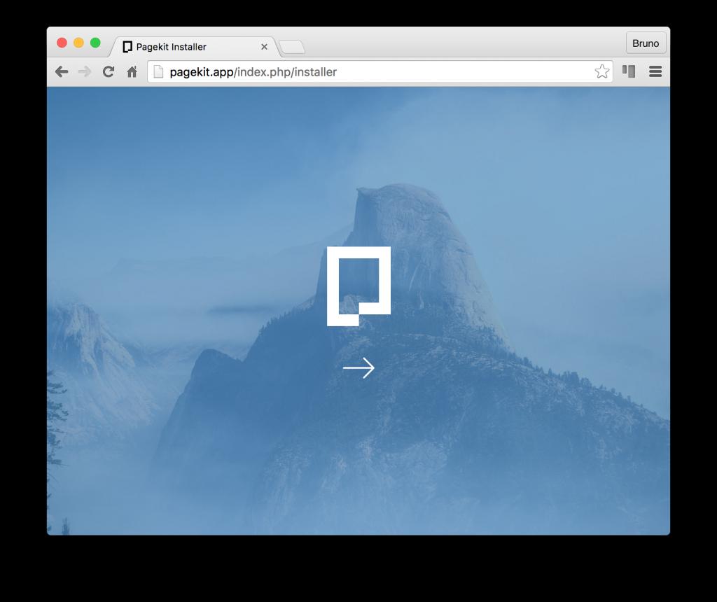 Pagekit installation screen