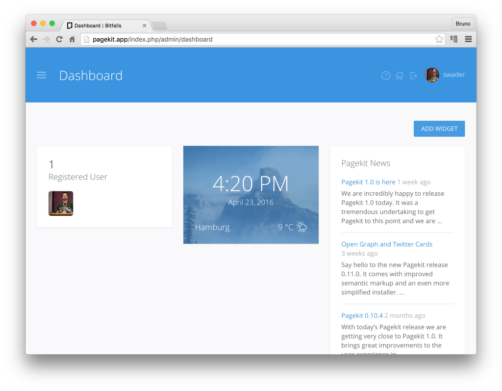 Pagekit dashboard