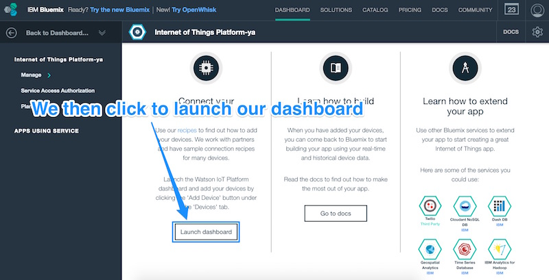 Clicking to launch Bluemix Dashboard