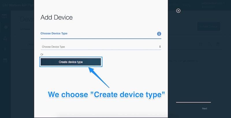 Choosing create device type