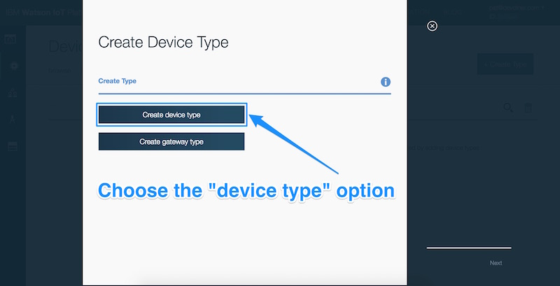 Choosing the device type option