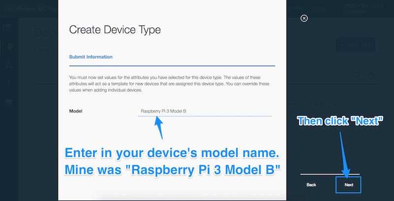 Entering in Raspberry Pi 3 Model B as the model name