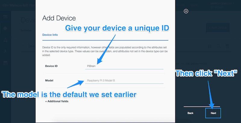 Setting a unique ID for our device and clicking Next
