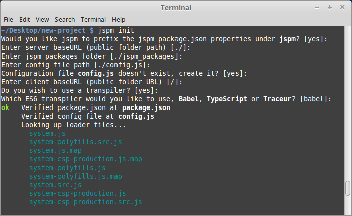 Running the jspm init command in the terminal