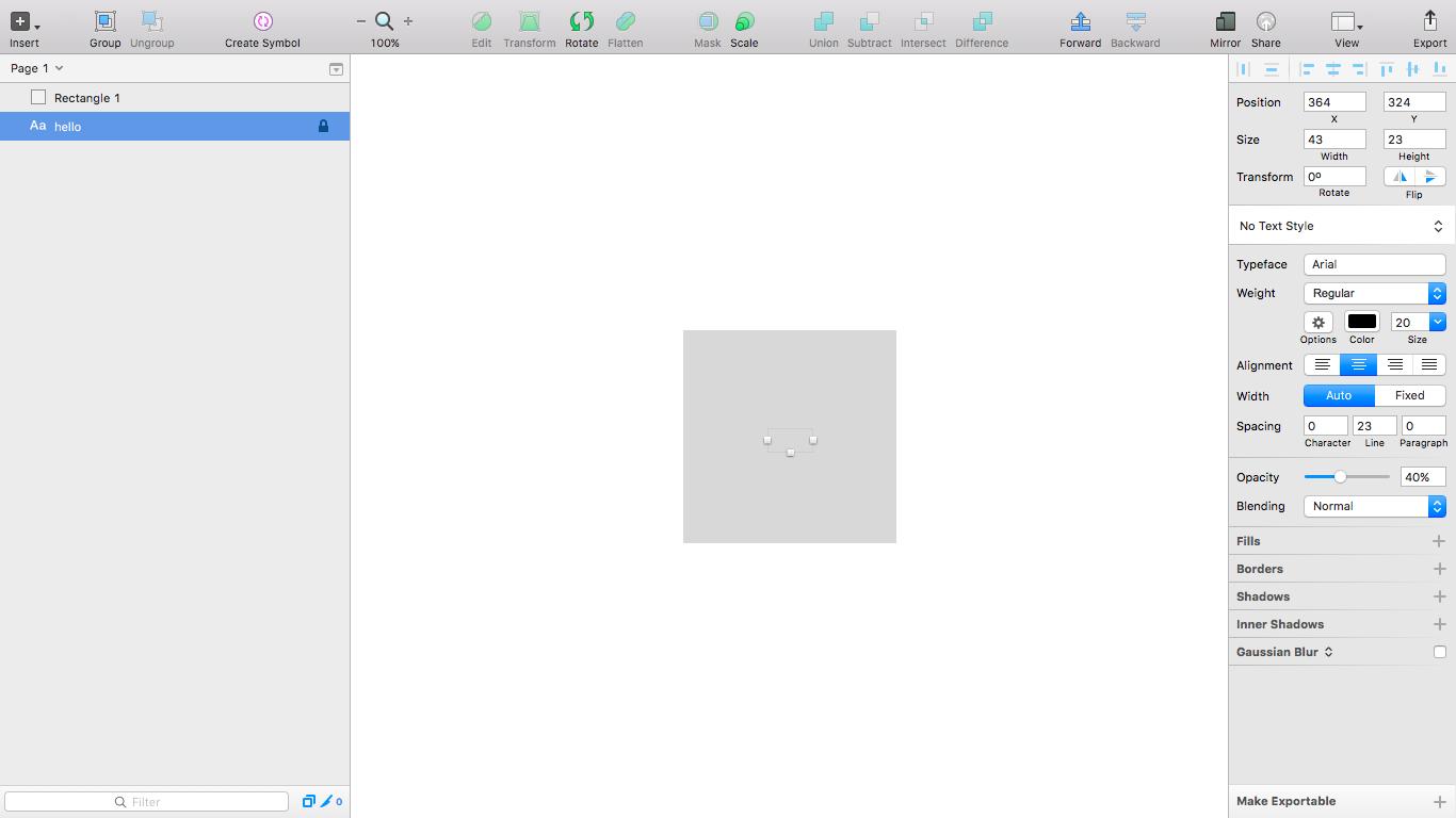 Text layer hidden behind a rectangle layer