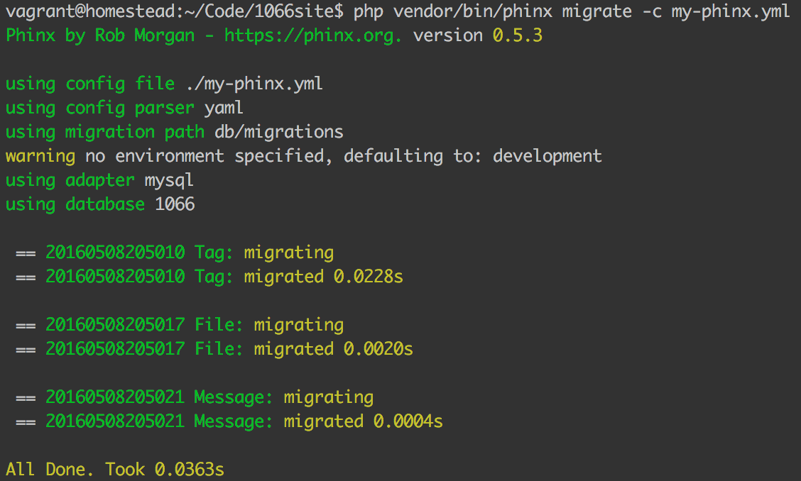 CLI output of successful migration execution