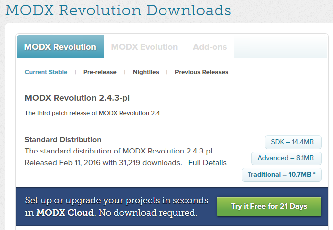 Download MODX