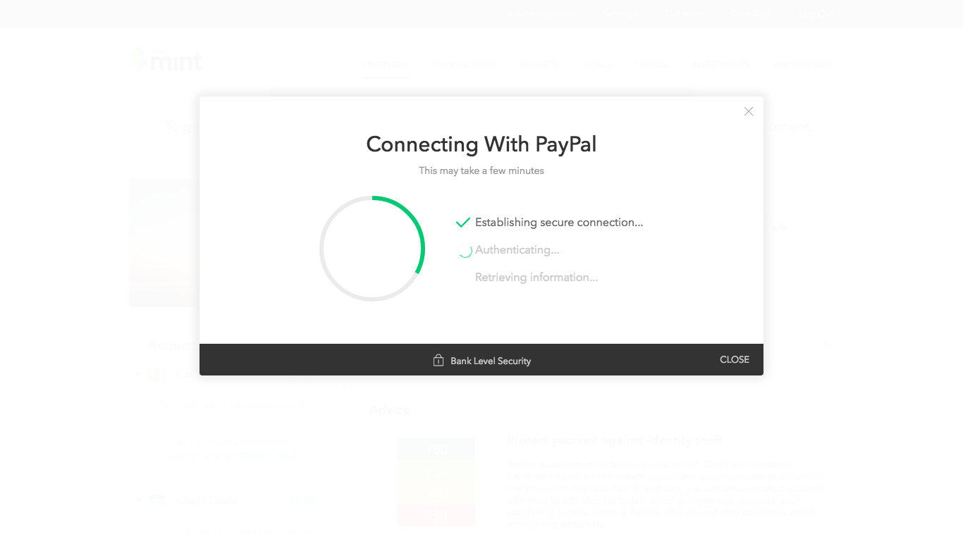 Screen: Connecting with Paypal