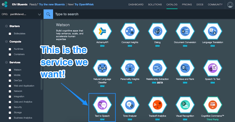The Text to Speech service in IBM Bluemix