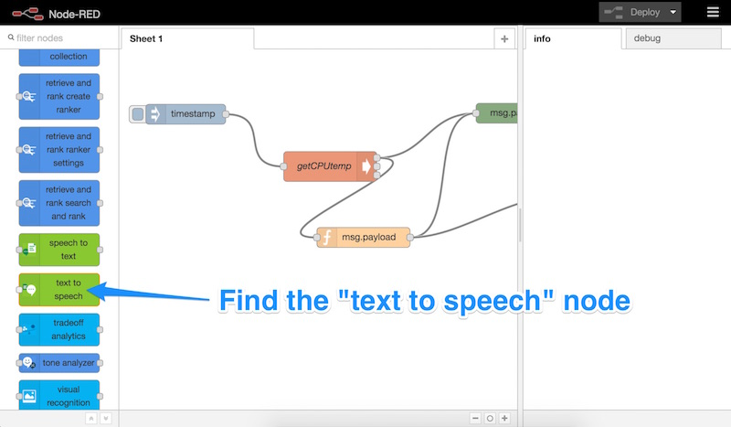 The text to speech node