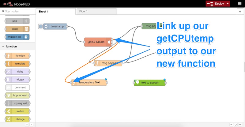 Linking up our getCPUtemp output to the new function
