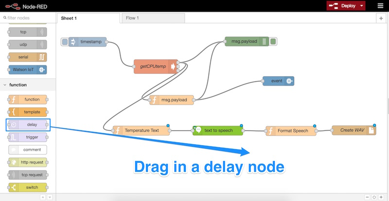 Dragging in a delay node
