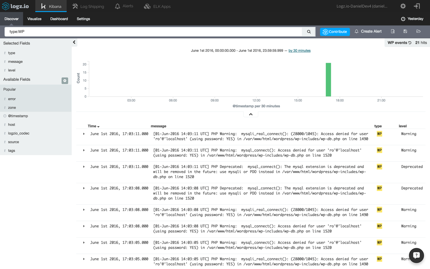 WordPress logs in Kibana