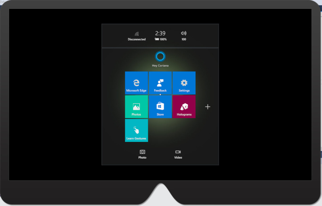HoloLens Emulator Start Screen