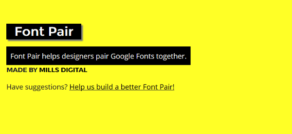 Font Pair website.