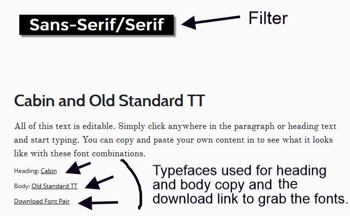 Filtering capabilities at work on the Font Pair website.