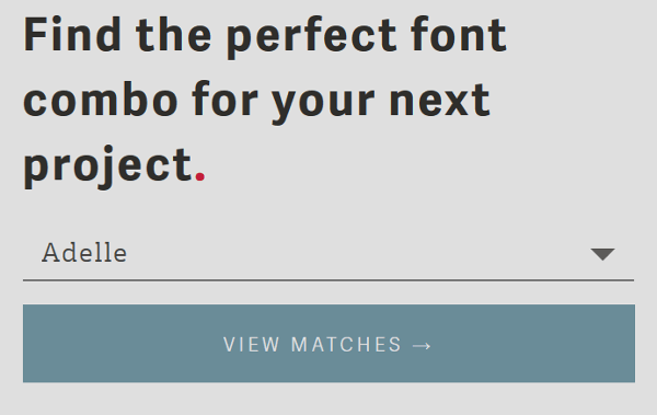 View Matches button on Type Genius website.