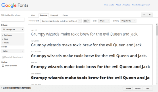 Google Fonts main screen