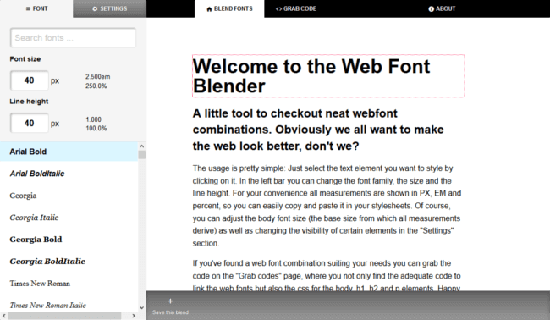 Web Font Blender website