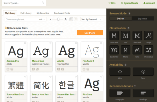 Adobe Typekit website