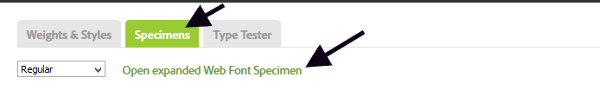 Specimens tab on Typekit website
