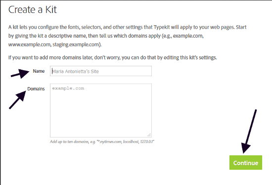 Popup to add a new kit on Webkit