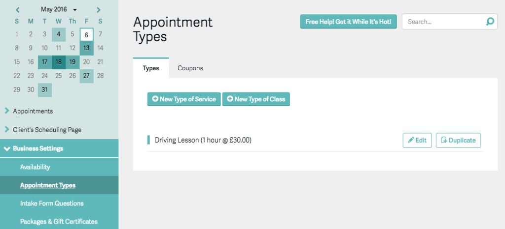 Acuity Appointment Types
