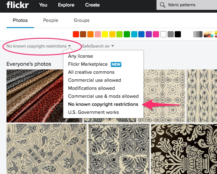 Flickr search - no known copyright restrictions