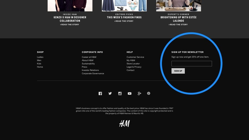 H&M Subscribe Footer