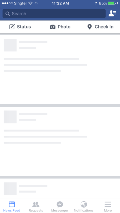 Facebook skeleton screen