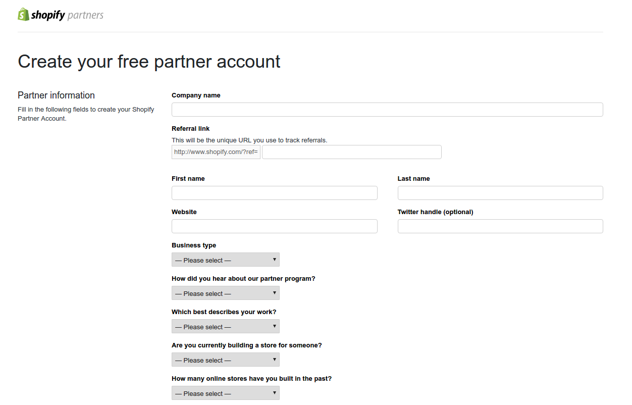 Shopify Partner Signup