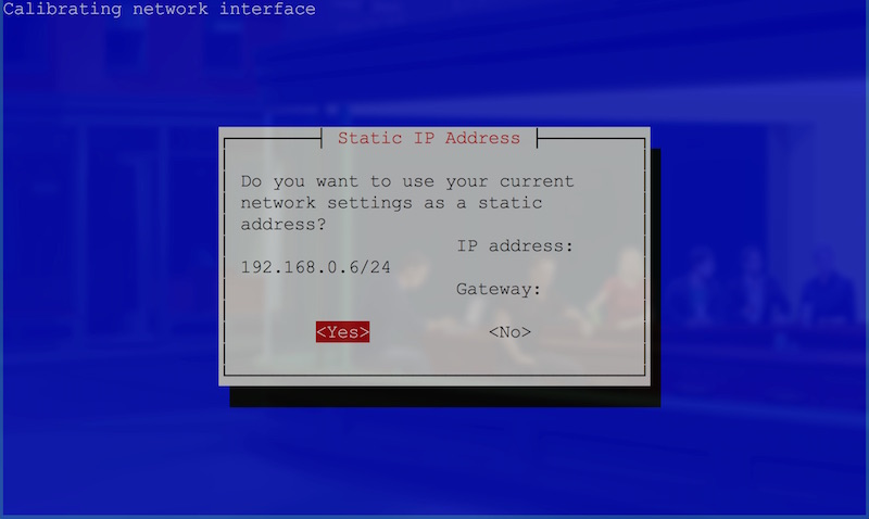 Confirmation of current IP address screen