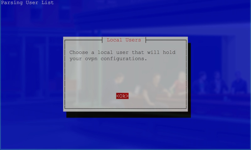 User selection start screen