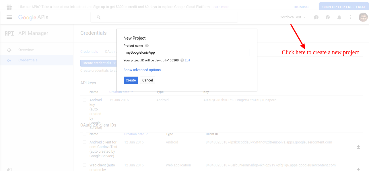 Create new project Google Developer Console