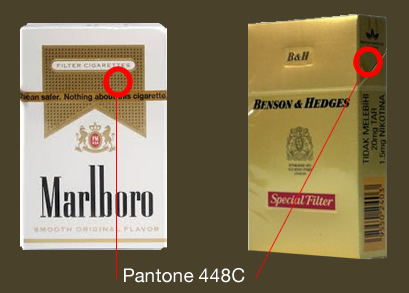 Golden brown tones on Malboro and Benson & Hedges boxes.