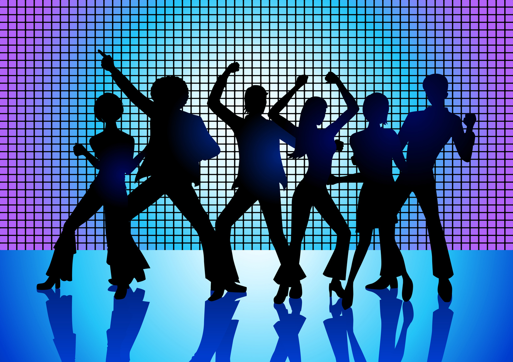 Illustration of people's outlines dancing in a disco
